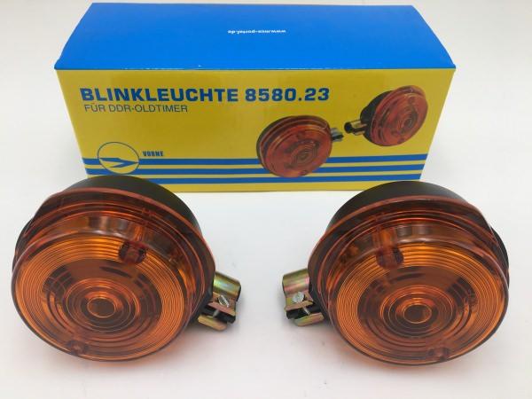 Paar Blinkleuchten, vordere - rund - 8580.23 - Lichtaustritt: Orange - Blinkeraufnahme 10 mm