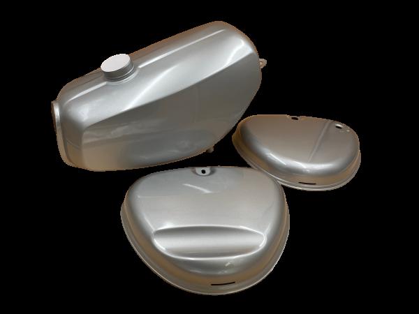 Enduro Tank + Seitendeckel Tankset Lackset Silber S51E, S70E